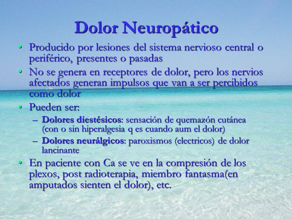 Dolor Neuropático Producido por lesiones del sistema nervioso central o periférico, presentes o pasadasProducido por lesiones del sistema nervioso cen