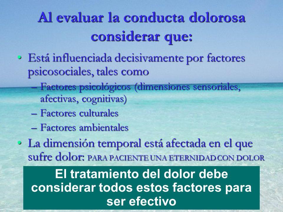 Al evaluar la conducta dolorosa considerar que: Está influenciada decisivamente por factores psicosociales, tales comoEstá influenciada decisivamente