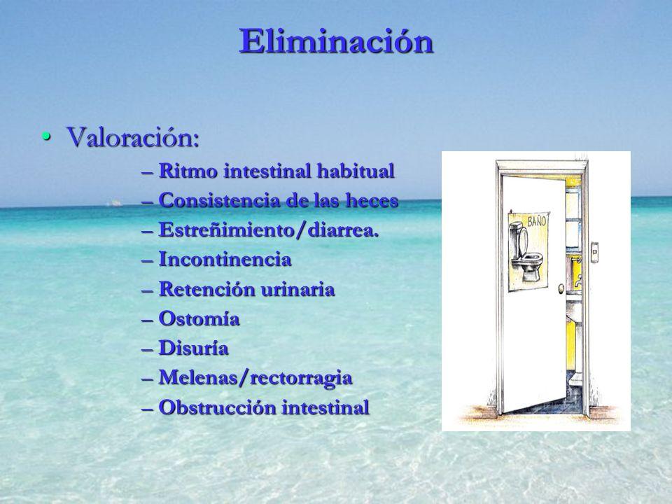 Eliminación Valoración:Valoración: –Ritmo intestinal habitual –Consistencia de las heces –Estreñimiento/diarrea. –Incontinencia –Retención urinaria –O