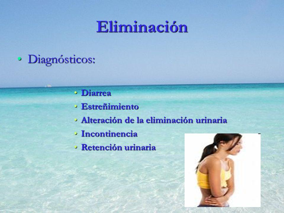 Eliminación Diagnósticos:Diagnósticos: DiarreaDiarrea EstreñimientoEstreñimiento Alteración de la eliminación urinariaAlteración de la eliminación uri