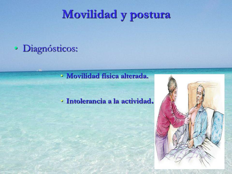 Movilidad y postura Diagnósticos:Diagnósticos: Movilidad física alterada.Movilidad física alterada. Intolerancia a la actividad.Intolerancia a la acti