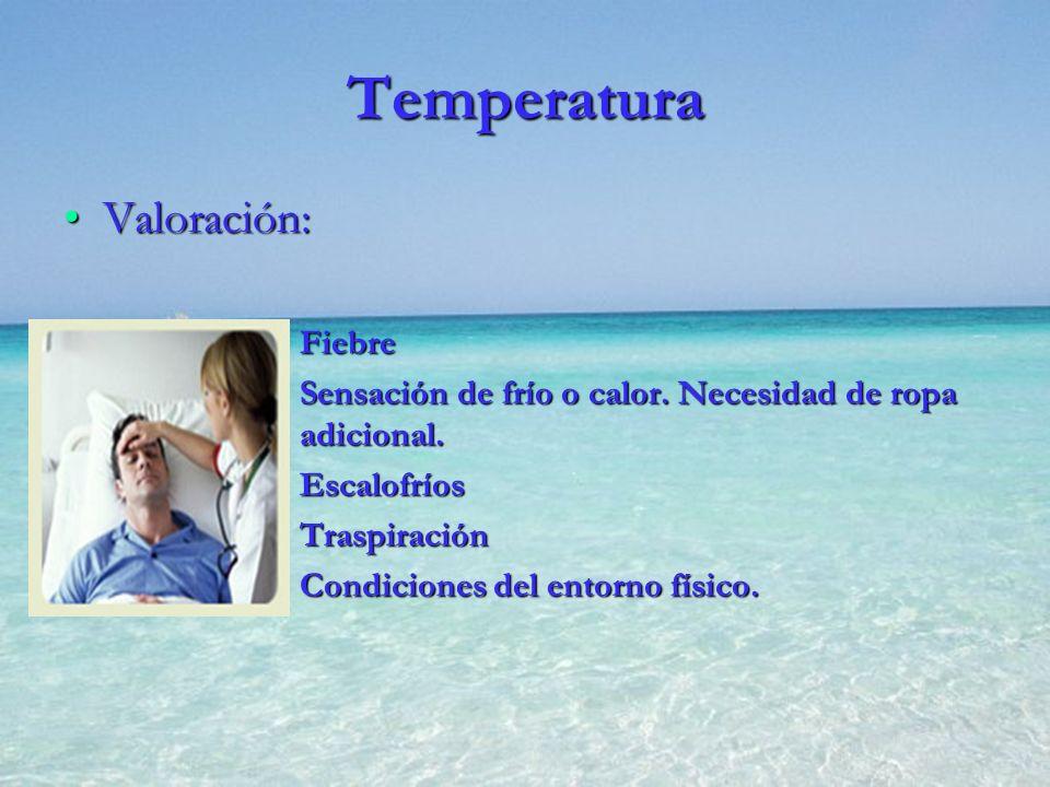 Temperatura Valoración:Valoración: FiebreFiebre Sensación de frío o calor. Necesidad de ropa adicional.Sensación de frío o calor. Necesidad de ropa ad