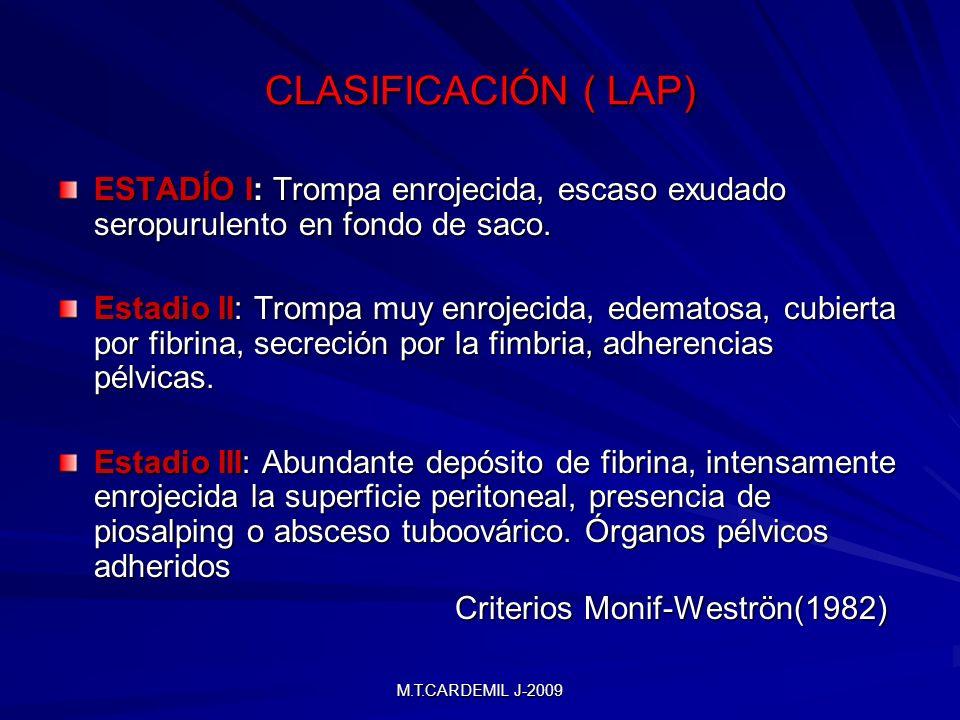M.T.CARDEMIL J-2009 CLASIFICACIÓN ( LAP) ESTADÍO I: Trompa enrojecida, escaso exudado seropurulento en fondo de saco. Estadio II: Trompa muy enrojecid