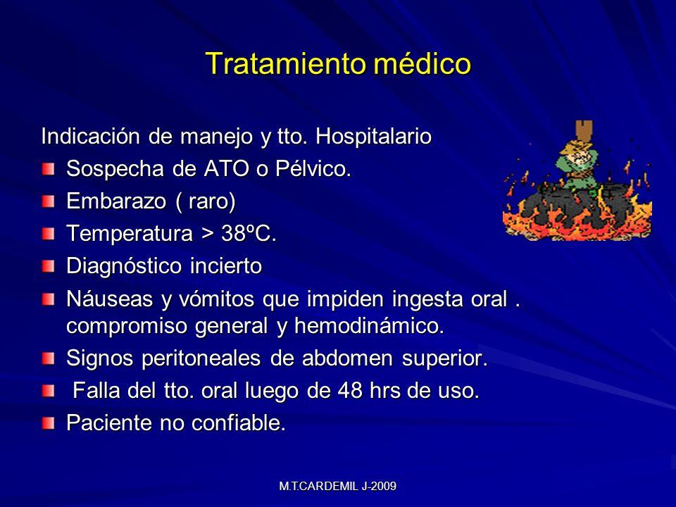 M.T.CARDEMIL J-2009 Tratamiento médico Indicación de manejo y tto. Hospitalario Sospecha de ATO o Pélvico. Embarazo ( raro) Temperatura > 38ºC. Diagnó