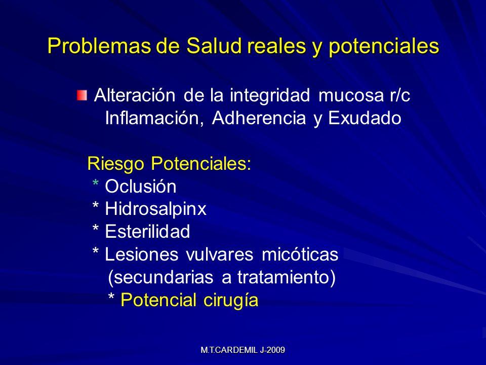 M.T.CARDEMIL J-2009 Problemas de Salud reales y potenciales Alteración de la integridad mucosa r/c Inflamación, Adherencia y Exudado Riesgo Potenciales: * Oclusión * Hidrosalpinx * Esterilidad * Lesiones vulvares micóticas (secundarias a tratamiento) * Potencial cirugía