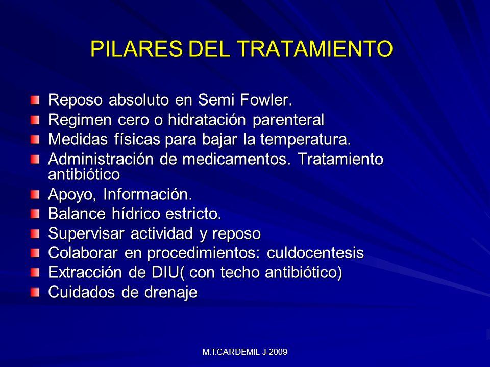 M.T.CARDEMIL J-2009 PILARES DEL TRATAMIENTO Reposo absoluto en Semi Fowler. Regimen cero o hidratación parenteral Medidas físicas para bajar la temper