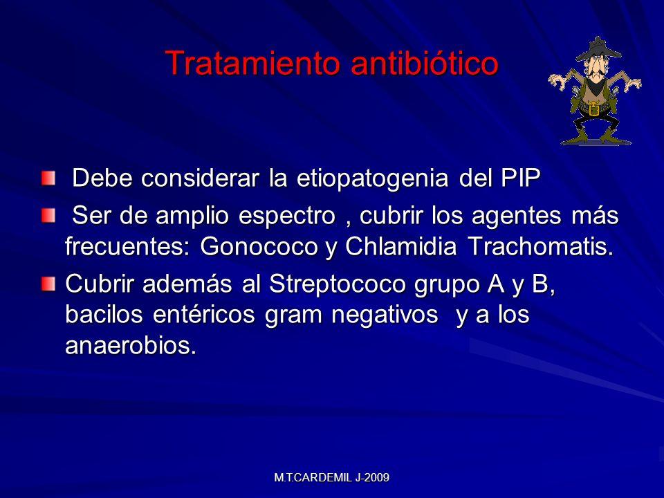 M.T.CARDEMIL J-2009 Tratamiento antibiótico Debe considerar la etiopatogenia del PIP Debe considerar la etiopatogenia del PIP Ser de amplio espectro, cubrir los agentes más frecuentes: Gonococo y Chlamidia Trachomatis.