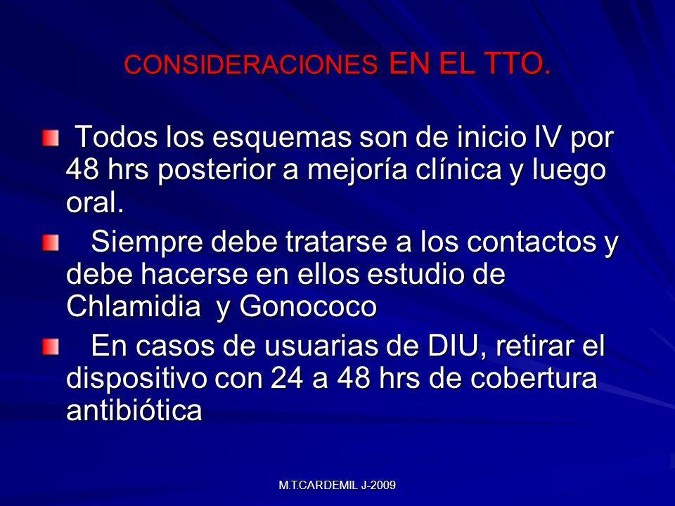 M.T.CARDEMIL J-2009 CONSIDERACIONES EN EL TTO. Todos los esquemas son de inicio IV por 48 hrs posterior a mejoría clínica y luego oral. Todos los esqu