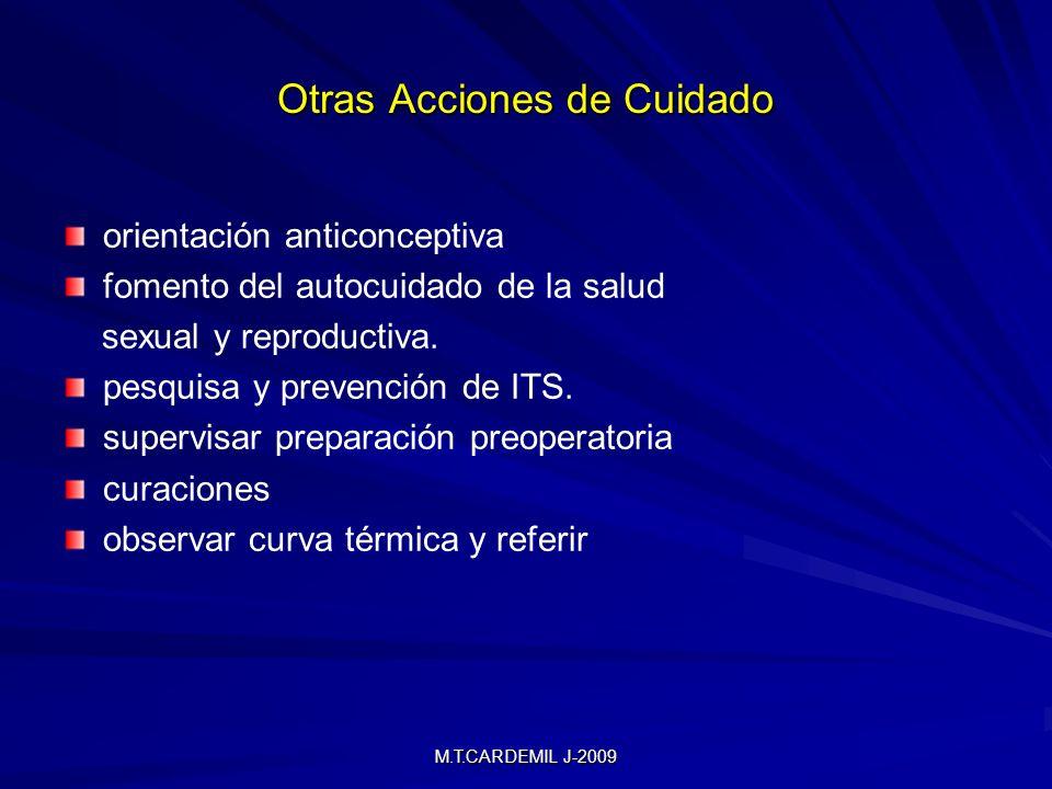 M.T.CARDEMIL J-2009 Otras Acciones de Cuidado orientación anticonceptiva fomento del autocuidado de la salud sexual y reproductiva. pesquisa y prevenc