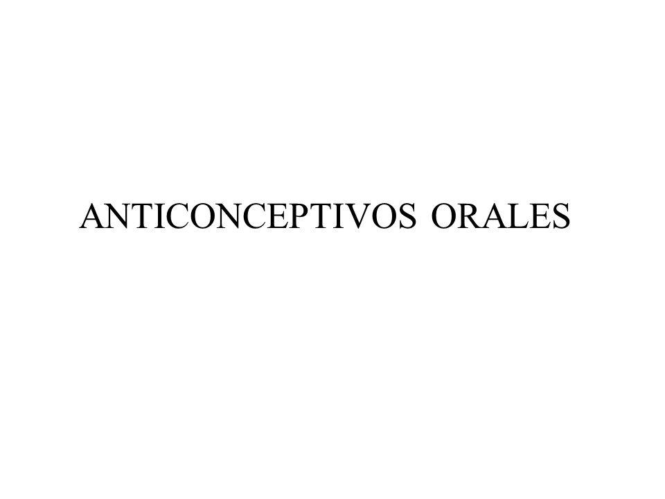 1.- COMBINACIÓN DE UN PROGESTÁGENO CON UN ESTRÓGENO (99.99% ÉXITO TEORICO) 2.- SOLO CON PROGESTÁGENO (99% ÉXITO)PUEDE SER USADA DESPUÉS DEL PARTO NO INTERFIERE CON LA LACTANCIA) 19-NORTESTOSTERONA + ETINILESTRADIOL (no > 30-35 g) LEVONORGESTREL NORGESTIMATE GESTODENE DESOGESTREL 21 dias de tratamiento seguido por 7 días sin fármacos