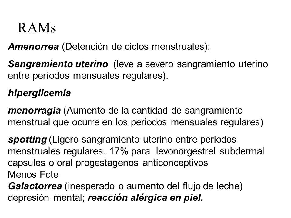 RAMs Amenorrea (Detención de ciclos menstruales); Sangramiento uterino (leve a severo sangramiento uterino entre períodos mensuales regulares). hiperg