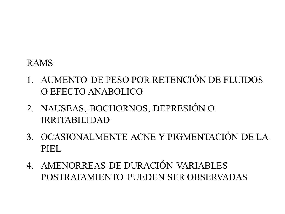 RAMS 1.AUMENTO DE PESO POR RETENCIÓN DE FLUIDOS O EFECTO ANABOLICO 2.NAUSEAS, BOCHORNOS, DEPRESIÓN O IRRITABILIDAD 3.OCASIONALMENTE ACNE Y PIGMENTACIÓ