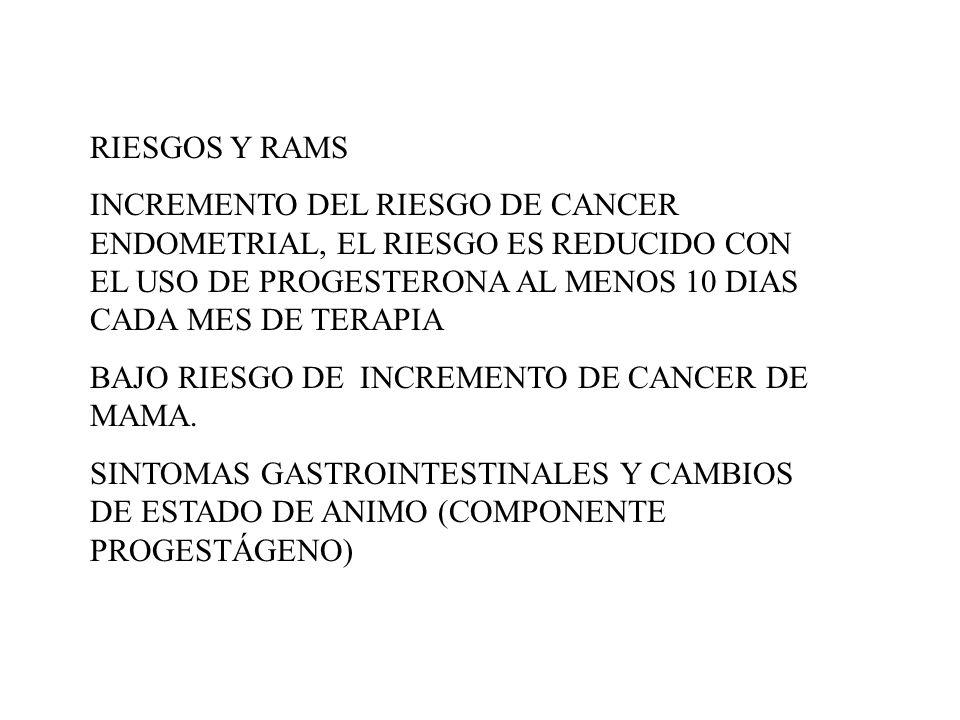 RIESGOS Y RAMS INCREMENTO DEL RIESGO DE CANCER ENDOMETRIAL, EL RIESGO ES REDUCIDO CON EL USO DE PROGESTERONA AL MENOS 10 DIAS CADA MES DE TERAPIA BAJO