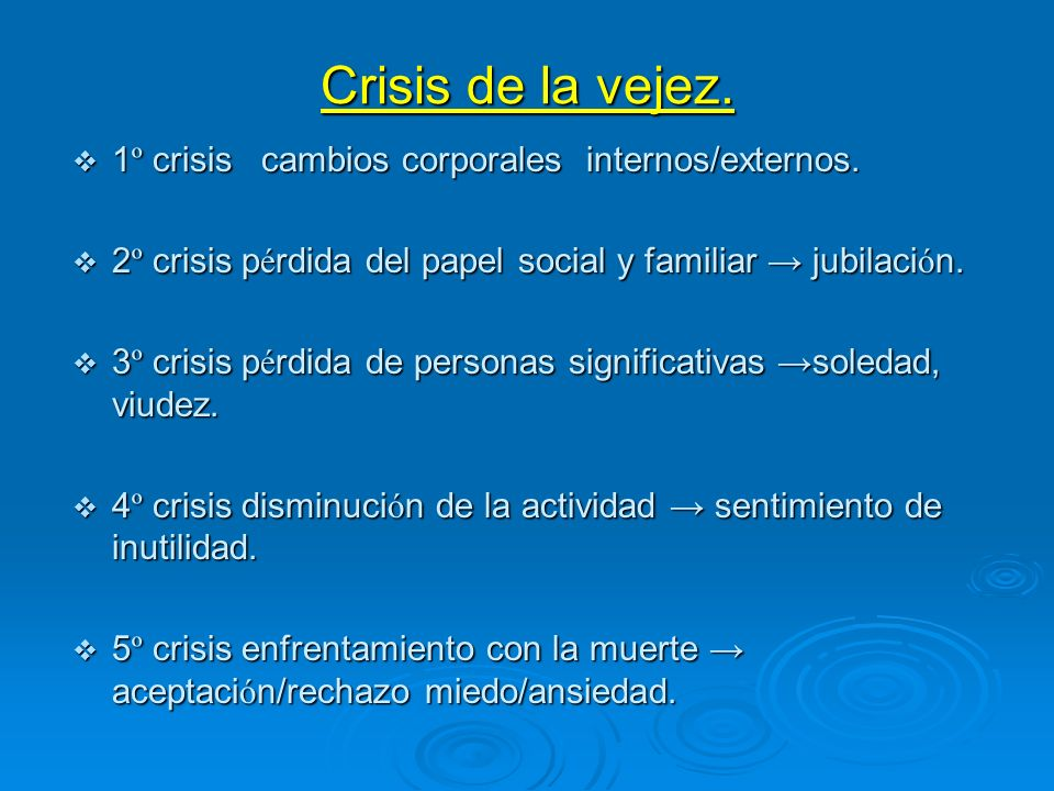 Crisis de la vejez. 1 º crisis cambios corporales internos/externos. 1 º crisis cambios corporales internos/externos. 2 º crisis p é rdida del papel s