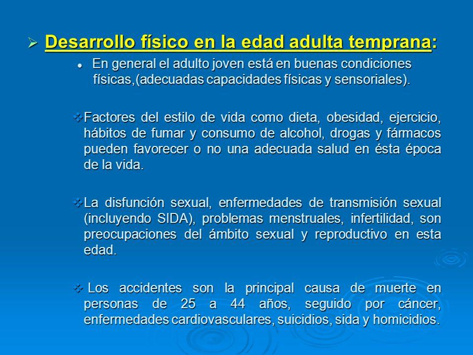 Desarrollo físico en la edad adulta temprana: Desarrollo físico en la edad adulta temprana: En general el adulto joven está en buenas condiciones físi