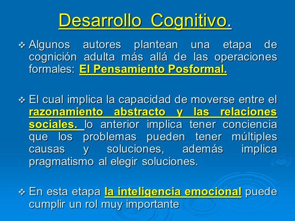 Desarrollo Cognitivo. Algunos autores plantean una etapa de cognición adulta más allá de las operaciones formales: El Pensamiento Posformal. Algunos a