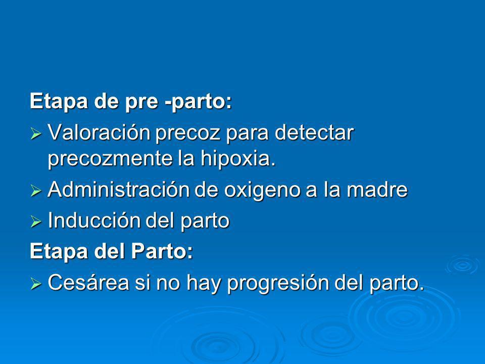 Etapa de pre -parto: Valoración precoz para detectar precozmente la hipoxia. Valoración precoz para detectar precozmente la hipoxia. Administración de