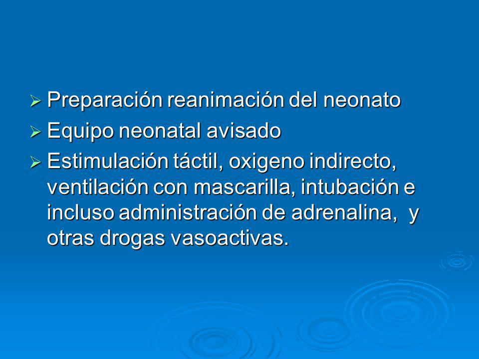 Preparación reanimación del neonato Preparación reanimación del neonato Equipo neonatal avisado Equipo neonatal avisado Estimulación táctil, oxigeno i
