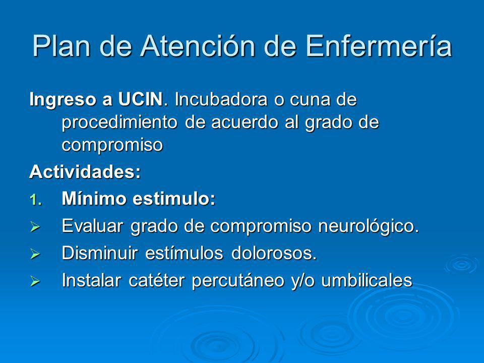 Plan de Atención de Enfermería Ingreso a UCIN. Incubadora o cuna de procedimiento de acuerdo al grado de compromiso Actividades: 1. Mínimo estimulo: E