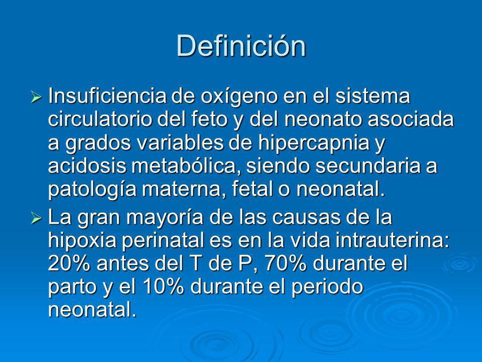 Definición Insuficiencia de oxígeno en el sistema circulatorio del feto y del neonato asociada a grados variables de hipercapnia y acidosis metabólica