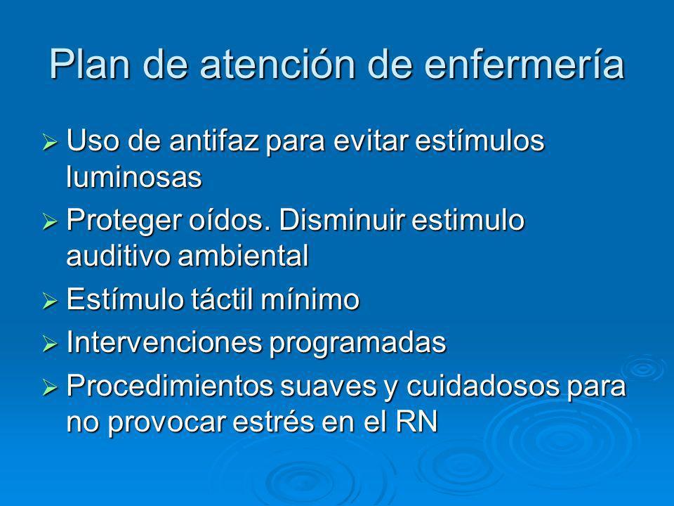 Plan de atención de enfermería Uso de antifaz para evitar estímulos luminosas Uso de antifaz para evitar estímulos luminosas Proteger oídos. Disminuir