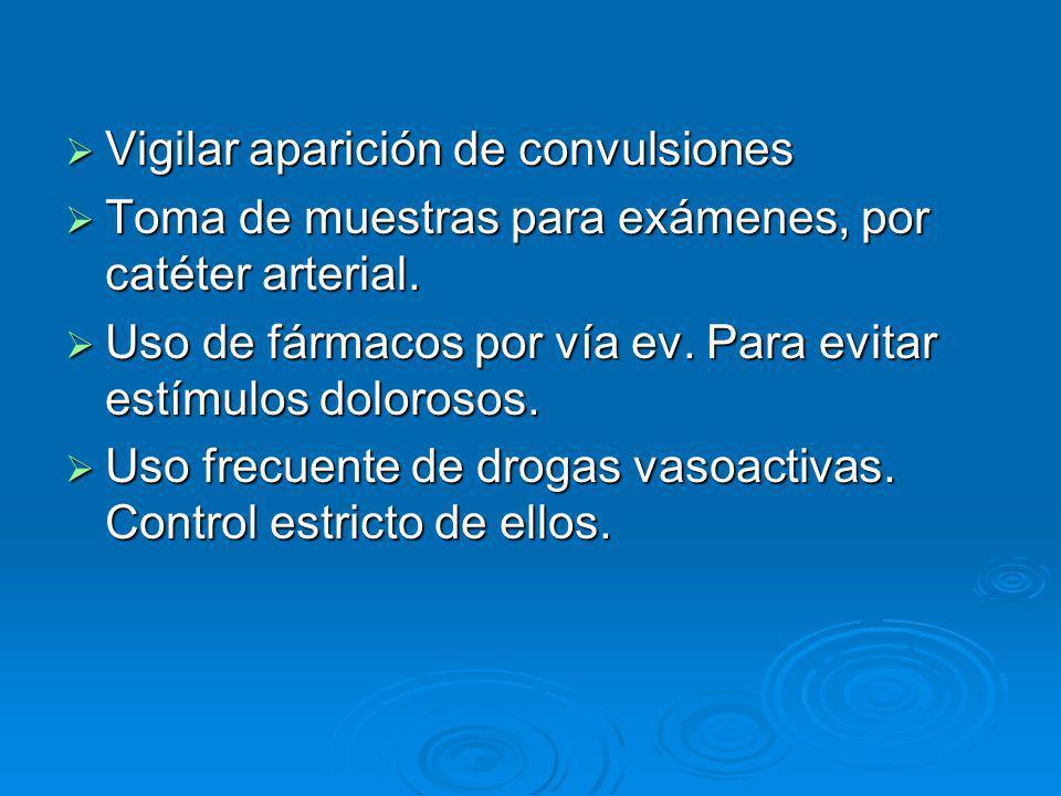 Vigilar aparición de convulsiones Vigilar aparición de convulsiones Toma de muestras para exámenes, por catéter arterial. Toma de muestras para exámen