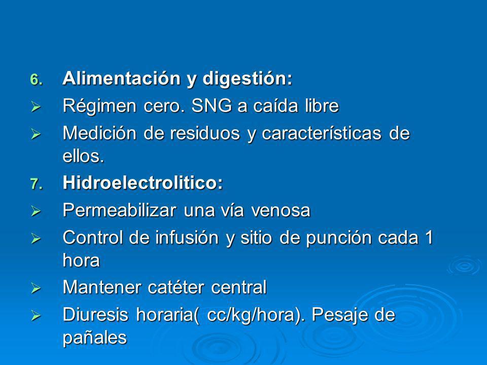 6. Alimentación y digestión: Régimen cero. SNG a caída libre Régimen cero. SNG a caída libre Medición de residuos y características de ellos. Medición
