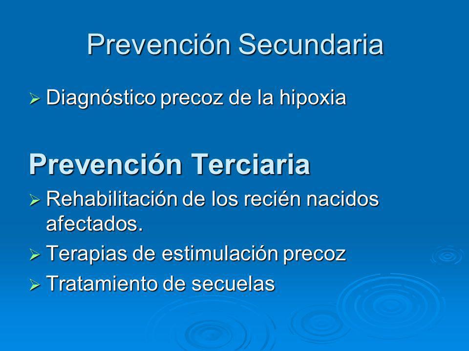 Prevención Secundaria Diagnóstico precoz de la hipoxia Diagnóstico precoz de la hipoxia Prevención Terciaria Rehabilitación de los recién nacidos afec