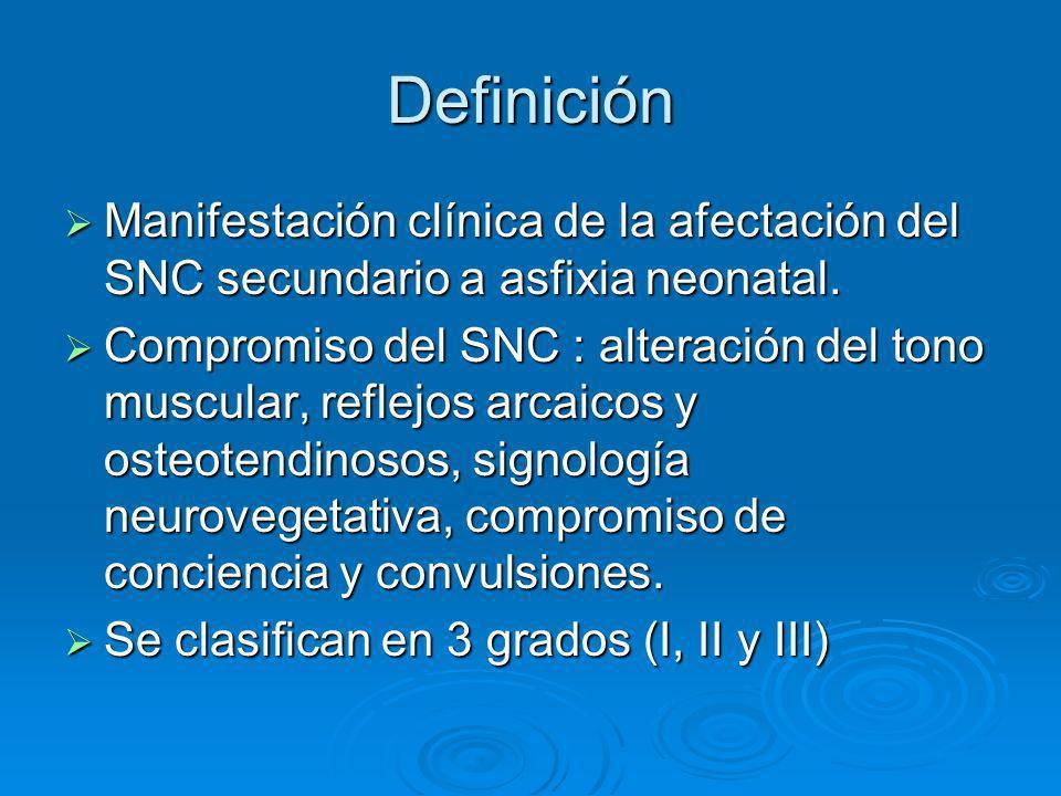 Definición Manifestación clínica de la afectación del SNC secundario a asfixia neonatal. Manifestación clínica de la afectación del SNC secundario a a