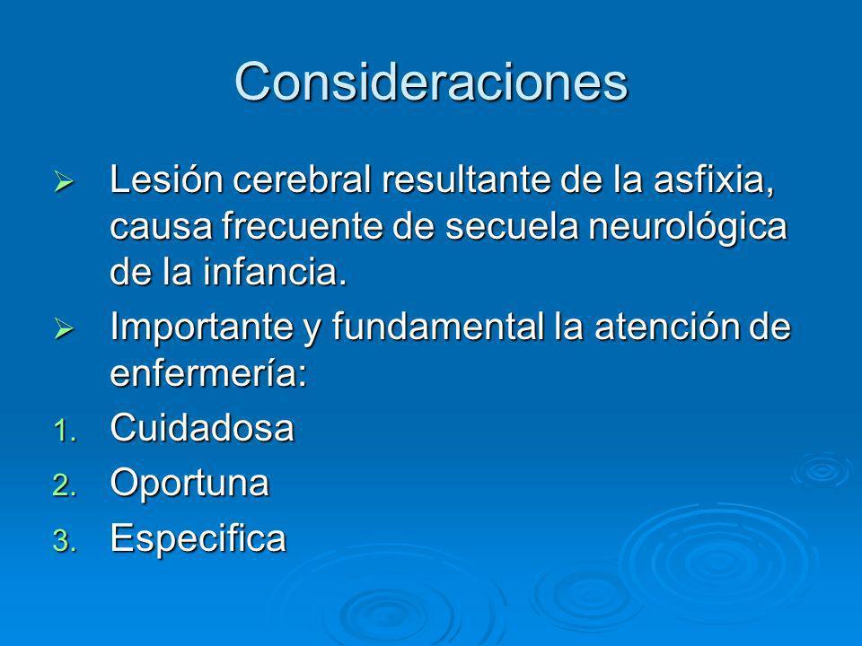 Consideraciones Lesión cerebral resultante de la asfixia, causa frecuente de secuela neurológica de la infancia. Lesión cerebral resultante de la asfi