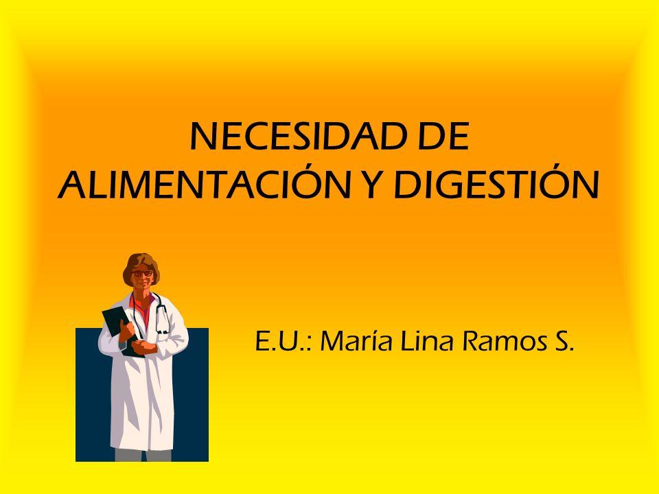 NECESIDAD DE ALIMENTACIÓN Y DIGESTIÓN E.U.: María Lina Ramos S.