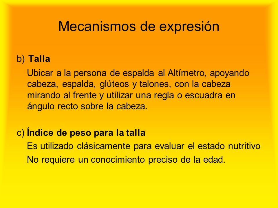 Mecanismos de expresión b) Talla Ubicar a la persona de espalda al Altímetro, apoyando cabeza, espalda, glúteos y talones, con la cabeza mirando al fr