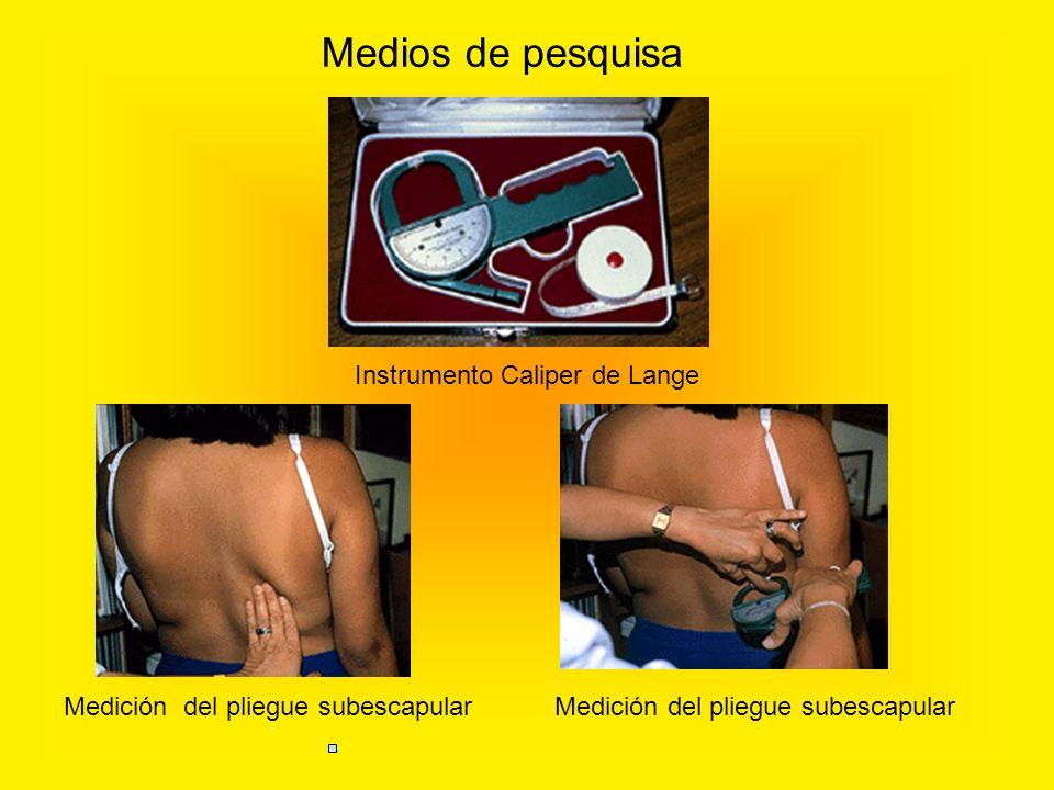 Instrumento Caliper de Lange Medición del pliegue subescapular Medios de pesquisa