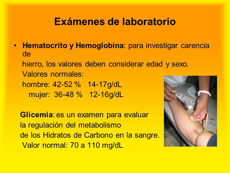 Exámenes de laboratorio Hematocrito y Hemoglobina: para investigar carencia de hierro, los valores deben considerar edad y sexo. Valores normales: hom