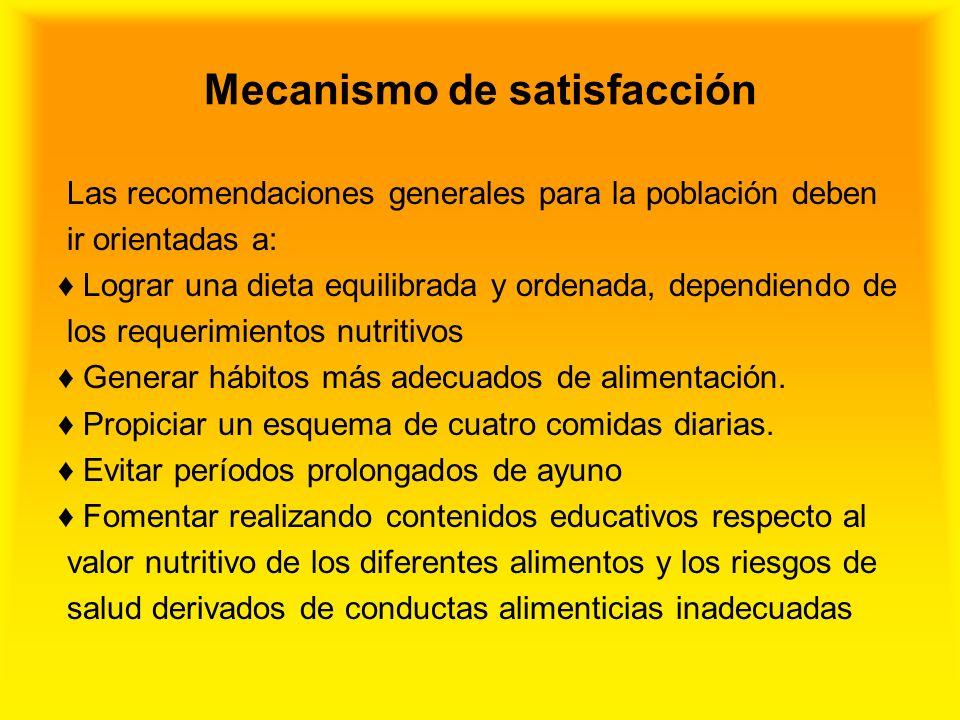Mecanismo de satisfacción Las recomendaciones generales para la población deben ir orientadas a: Lograr una dieta equilibrada y ordenada, dependiendo
