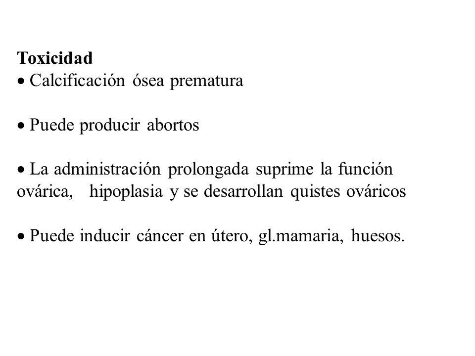 Toxicidad Calcificación ósea prematura Puede producir abortos La administración prolongada suprime la función ovárica, hipoplasia y se desarrollan qui