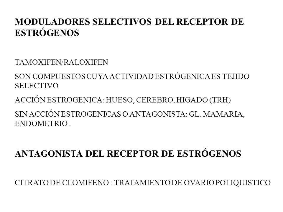 MODULADORES SELECTIVOS DEL RECEPTOR DE ESTRÓGENOS TAMOXIFEN/RALOXIFEN SON COMPUESTOS CUYA ACTIVIDAD ESTRÓGENICA ES TEJIDO SELECTIVO ACCIÓN ESTROGENICA