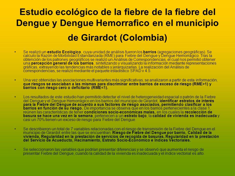 Estudio ecológico de la fiebre de la fiebre del Dengue y Dengue Hemorrafico en el municipio de Girardot (Colombia) Se realizó un estudio Ecológico, cu