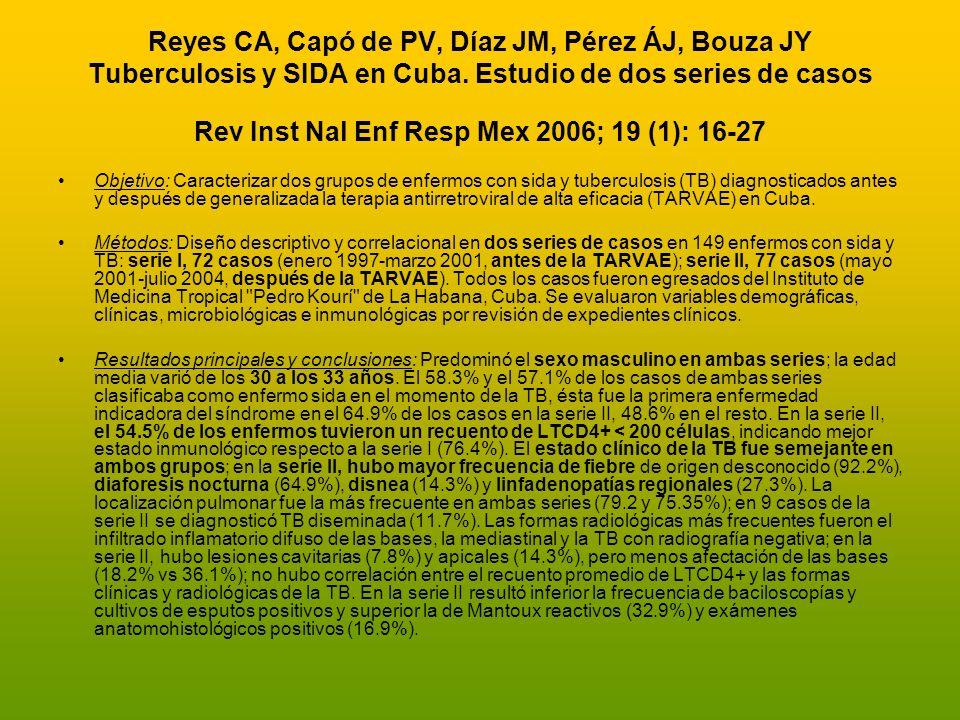 Reyes CA, Capó de PV, Díaz JM, Pérez ÁJ, Bouza JY Tuberculosis y SIDA en Cuba. Estudio de dos series de casos Rev Inst Nal Enf Resp Mex 2006; 19 (1):