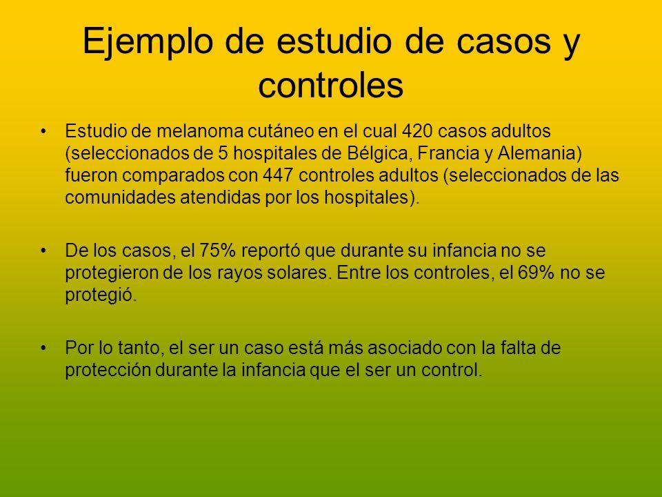 Ejemplo de estudio de casos y controles Estudio de melanoma cutáneo en el cual 420 casos adultos (seleccionados de 5 hospitales de Bélgica, Francia y