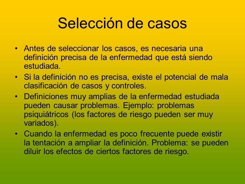 Selección de casos Antes de seleccionar los casos, es necesaria una definición precisa de la enfermedad que está siendo estudiada. Si la definición no