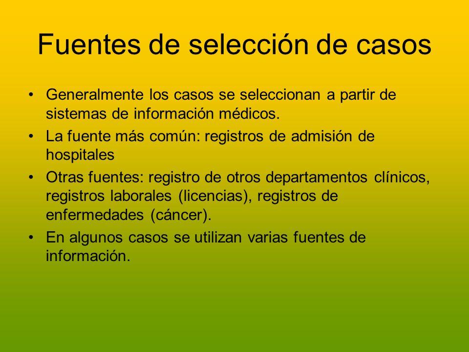 Fuentes de selección de casos Generalmente los casos se seleccionan a partir de sistemas de información médicos. La fuente más común: registros de adm