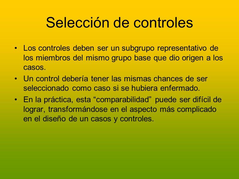 Selección de controles Los controles deben ser un subgrupo representativo de los miembros del mismo grupo base que dio origen a los casos. Un control