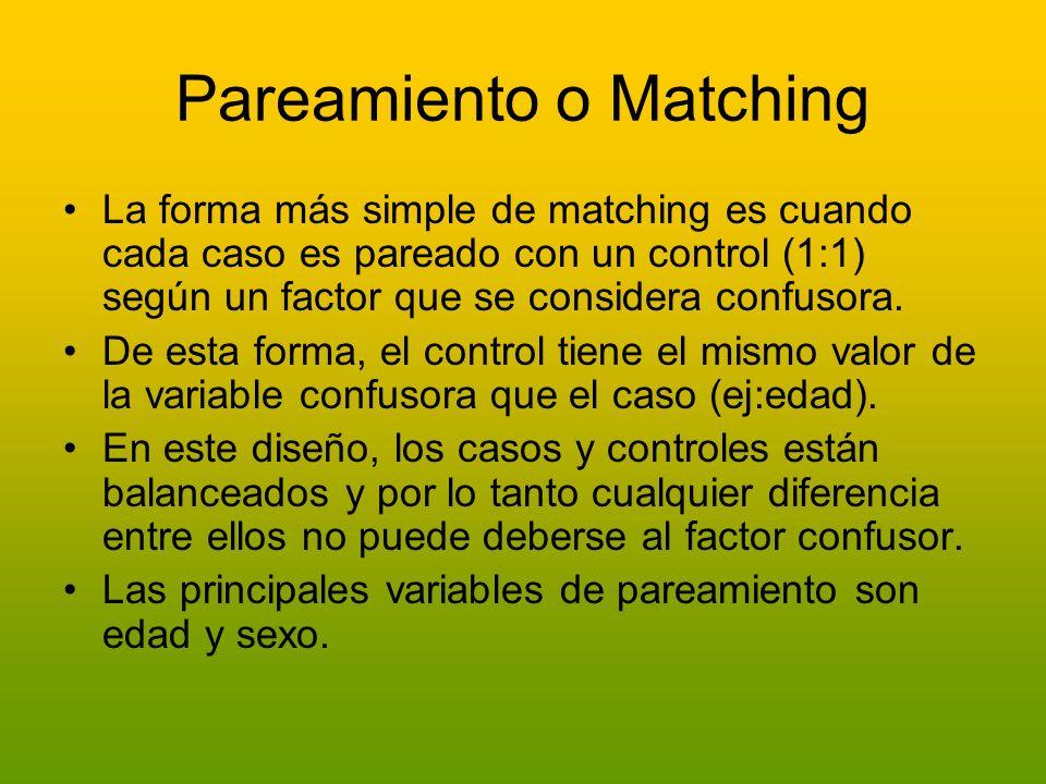 Pareamiento o Matching La forma más simple de matching es cuando cada caso es pareado con un control (1:1) según un factor que se considera confusora.
