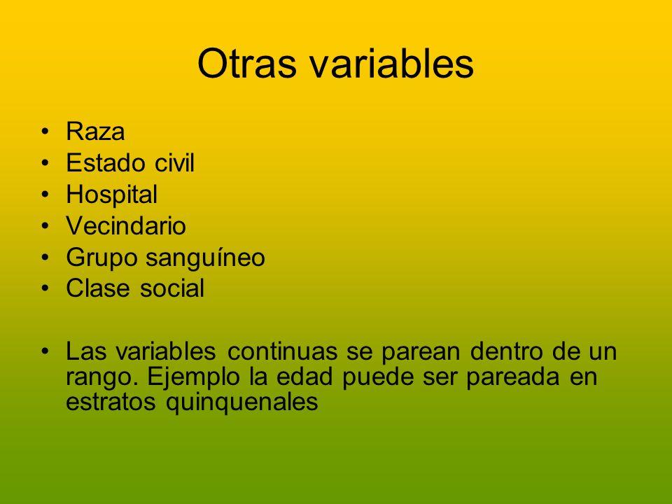 Otras variables Raza Estado civil Hospital Vecindario Grupo sanguíneo Clase social Las variables continuas se parean dentro de un rango. Ejemplo la ed