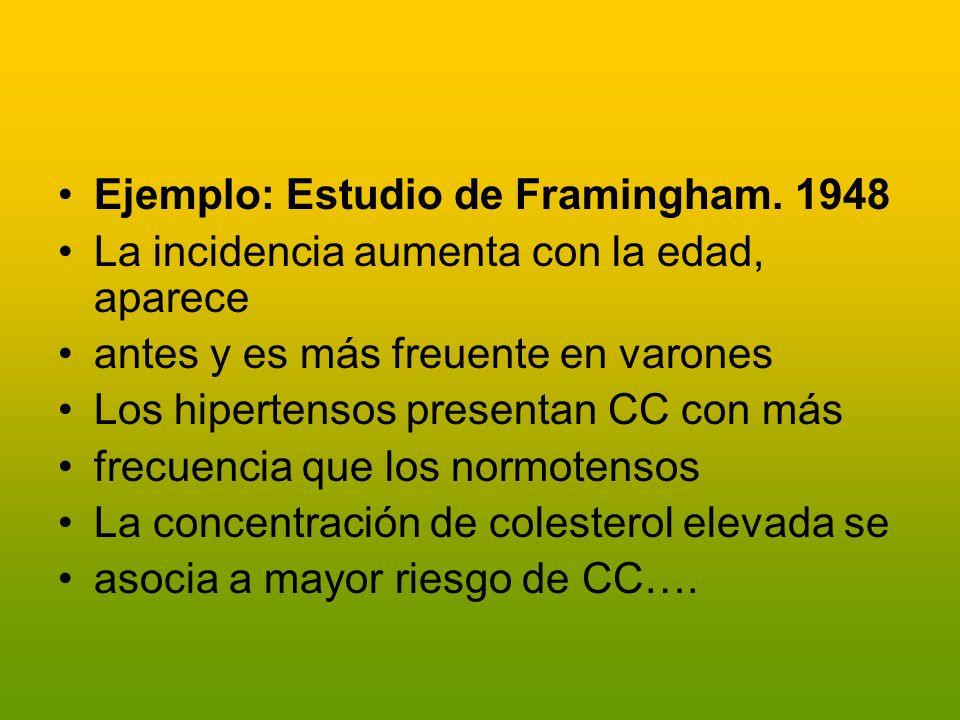 Ejemplo: Estudio de Framingham. 1948 La incidencia aumenta con la edad, aparece antes y es más freuente en varones Los hipertensos presentan CC con má