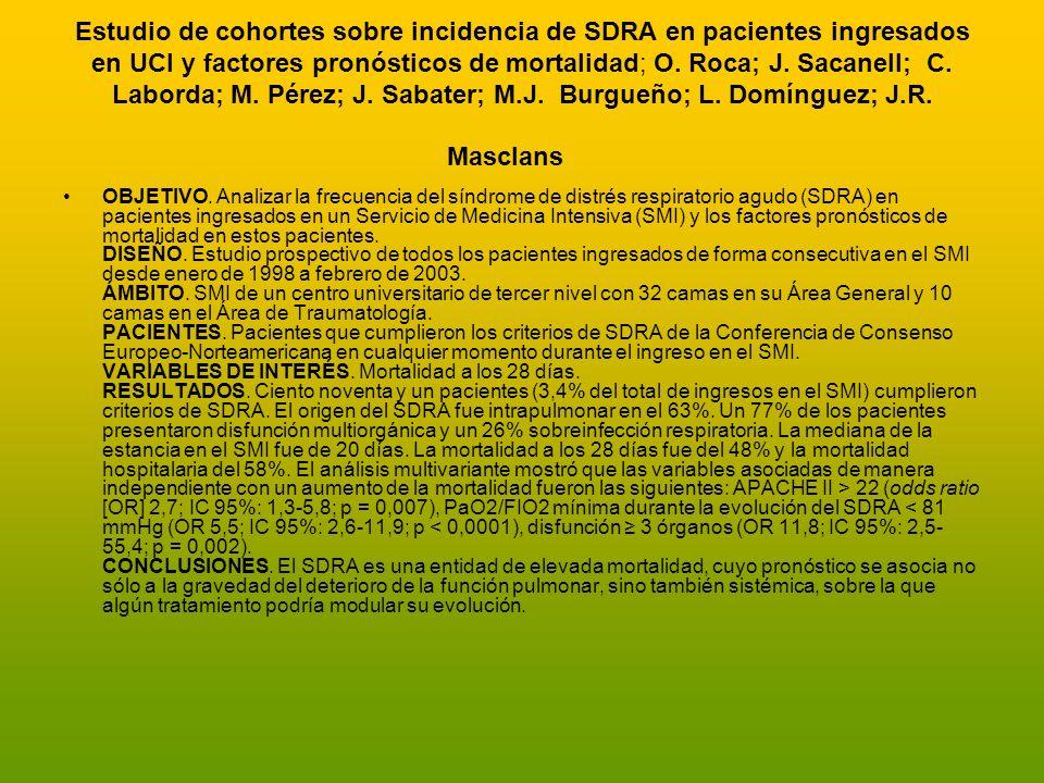Estudio de cohortes sobre incidencia de SDRA en pacientes ingresados en UCI y factores pronósticos de mortalidad; O. Roca; J. Sacanell; C. Laborda; M.
