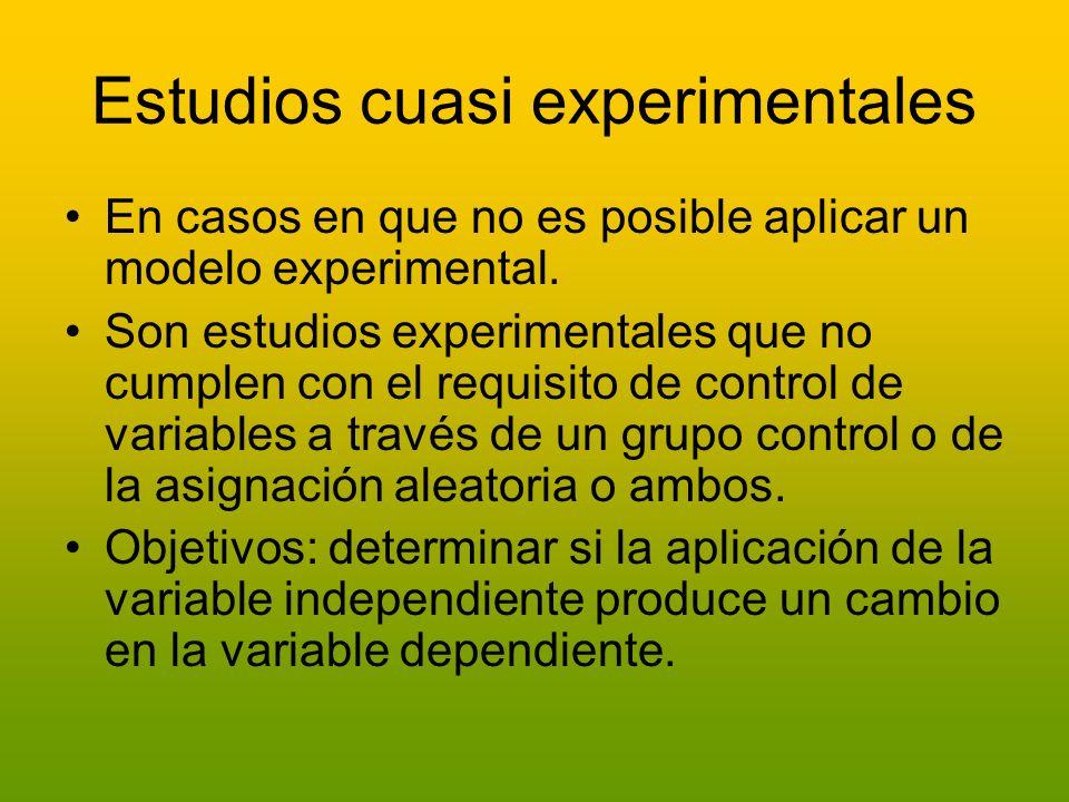 Estudios cuasi experimentales En casos en que no es posible aplicar un modelo experimental. Son estudios experimentales que no cumplen con el requisit