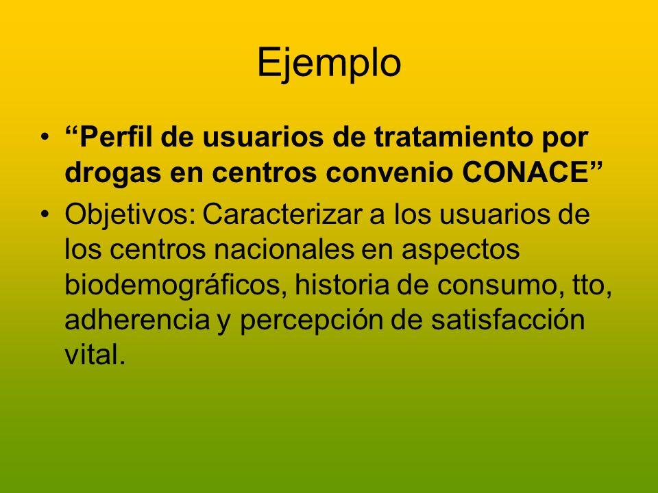 Ejemplo Perfil de usuarios de tratamiento por drogas en centros convenio CONACE Objetivos: Caracterizar a los usuarios de los centros nacionales en as