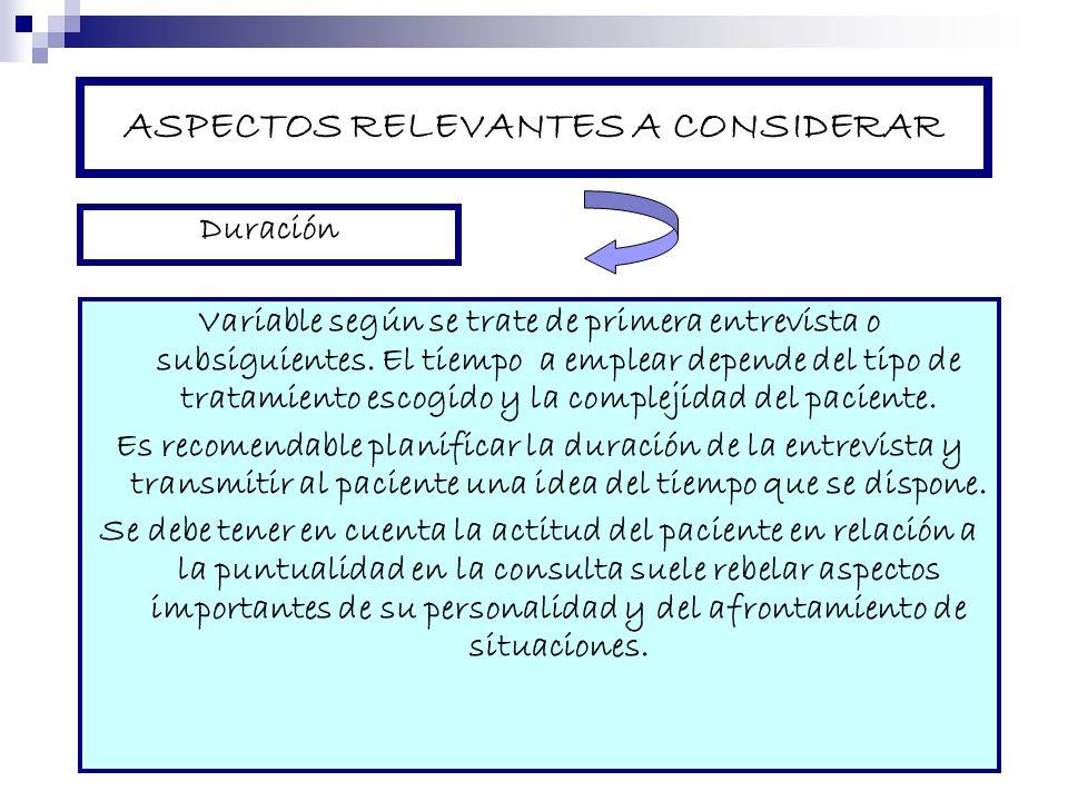 ASPECTOS RELEVANTES A CONSIDERAR Variable según se trate de primera entrevista o subsiguientes. El tiempo a emplear depende del tipo de tratamiento es